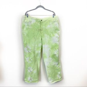 Lime Tie Dye Upcycled Stretch Straight Leg Jeans